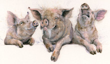 Three little pigs, hand embellished limited edition print by Kay Johns