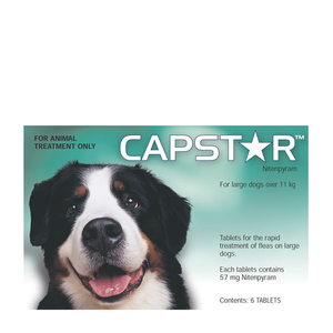 Capstar Flea Tablets for Dogs 26-125 lbs (11.1-57 kg) - Green - 6 pack (1 Box)