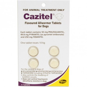 Cazitel Allwormer Tablets for Dogs up to 22 lbs (up to 10 kgs) - 4 Pack