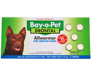 Drontal Allwormer for Dogs up to 22 lbs (up to 10 kgs) - 5 Pack Tablets