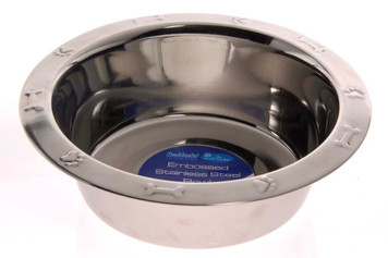 Embossed Stainless Steel Dog Bowl - 64oz