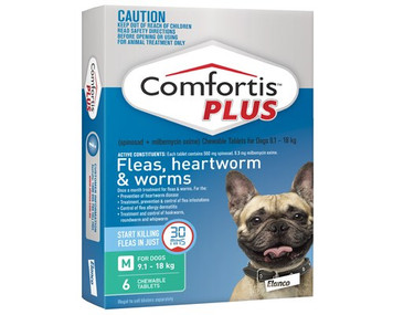 Comfortis PLUS (Panoramis) for Dogs 9.1-18 kgs - Green - 6 Pack