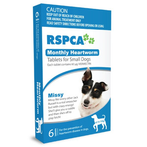 RSPCA Heartworm Tablets for Dogs up to 22lbs (up to 10kg) - 6 Pack - Blue