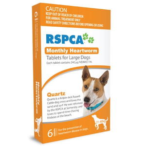RSPCA Heartworm Tablets for Dogs 45-88 lbs (21-40 kg) - 6 Pack - Orange