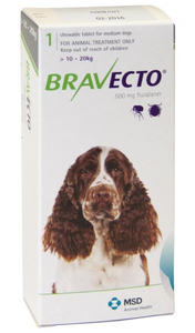 Bravecto for Dogs 22-44lbs (10-20 kg) - Green - 4 Tablets (12 months)
