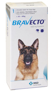 Bravecto for Dogs 44-88lbs (20-40 kg) - Blue - 4 Tablets (12 months)
