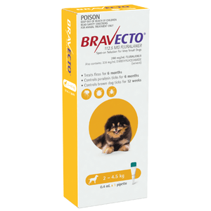 Bravecto SPOT-ON for Small Dogs 4.4-9lbs (2-4.5kg) - Yellow (6 Months)