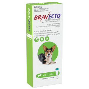 Bravecto SPOT-ON for Medium Dogs 22-44lbs (10-20kg) - Green (6 Months)