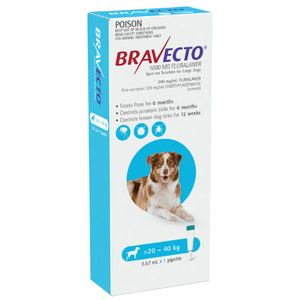 Bravecto SPOT-ON for Large Dogs 44-88lbs (20-40kg) - Blue (6 Months)