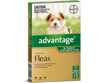 Advantage for Dogs up to 4 kgs (up to 10 lbs) - Green - 6 Pack