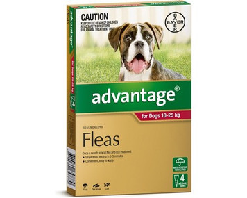 Advantage for Dogs 10-25 kgs (21 - 55 lbs) - Red - 4 Pack