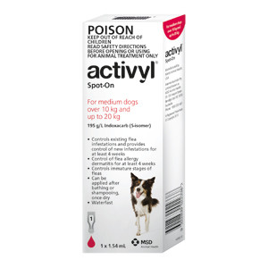 Activyl for Dogs 22-44 lbs (10-20 kg) - Single Dose - Red