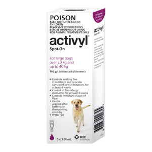 Activyl for Dogs 44-88 lbs (20-40 kg) - Single Dose - Purple