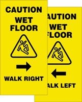 Caution Wet Floor Walk Right/ Walk Left 2 X Fold Up Sign