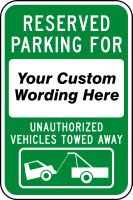 Reserved Parking For - Unauthorized Vehicles Towed Away Sign
