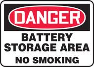 Danger - Battery Storage Area No Smoking - Dura-Fiberglass - 10'' X 14''