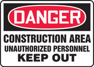 Danger - Construction Area Unauthorized Personnel Keep Out