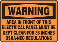 Warning - Area In Front Of This Electrical Panel Must Be Kept Clear