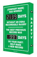 Digi Day Plus Safety Scoreboard for Outdoor Use- Semi Custom SCM335