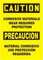 Corrosive Materials Wear Required Protection Sign- Bilingual Safety Sign