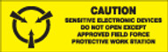 Caution Sensitive Electronic Devices Do Not Open Except Approved Field Force Protective Work Stations ESD