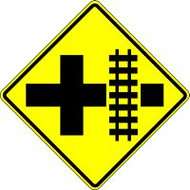 "Crossroad Parallel Railroad Crossing- 30"" X 30""- Engineer Reflective"
