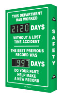 Digi Day 2 Safety Scoreboard - This Department Has Worked XXXX Days Without a Lost Time! w/ Best Previous Record SCG120