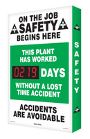 Outdoor Digi Day Plus Safety Scoreboard- On The Job Safety Begins Here SCM307