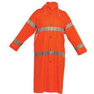 Reflective Rain Jacket-Long-Orange- Large