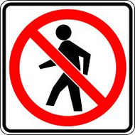 "No Pedestrian Crossing Symbol- 24"" X 24""  Engineer Reflective"