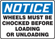 Notice Wheels Must Be Chocked Before Loading Or Unloading Safety Sign