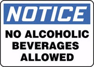 Notice - No Alcoholic Beverages Allowed
