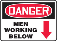 Danger - Men Working Below Sign