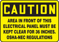 Caution - Area In Front Of This Electrical Panel Must Be Kept Clear For 36 Inches