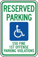 (Alabama) Reserved Parking $50 Fine 1st Offense Parking Violations Sign (w/graphic)