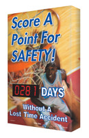Outdoor Safety Scoreboards Digi Day Plus - Basketball Theme Safety Scoreboard SCM334