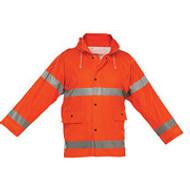 Reflective Rain Jacket- Orange- Short- X Large