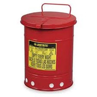 Justrite Red Oily Waste Can- 6 Gallon with Hand Operated Cover