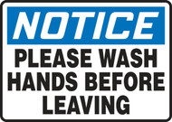 Notice - Please Wash Hands Before Leaving