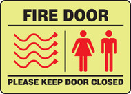 Fire Door Please Keep Door Closed -Glow