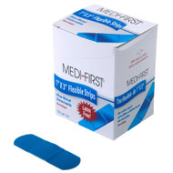 "Blue Bandages Metal Detectable Strips- Blue Bandaids 1""x3""  100/ box"