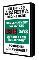 Digi Day Electronic Safety Scoreboard- Backlit LED Lite- On the Job Safety  SCF218