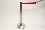 Blockade Retractable Belt Tape Barrier- Brushed Steel Post with Red Belt Tape (Indoor)