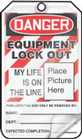 Danger Equipment Lock Out Tag- OSHA Danger Lockout Tag Self Laminating 25/pk cardstock