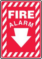 Fire Alarm (Arrow) - .040 Aluminum - 14'' X 10''
