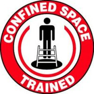 Confined Space Trained Hard Hat Label (w/graphic) 10 pack