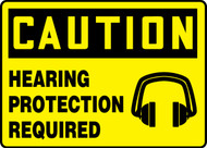 Caution - Hearing Protection Required (W/Graphic) - Dura-Plastic - 10'' X 14''