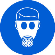 ISO Mandatory Safety Sign- Wear Respiratory Protection - Adhesive Vinyl - 6''