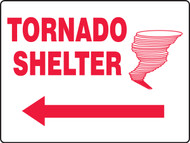 "Tornado Shelter Sign with Arrow Left Sign 18"" x 24"" Plastic"