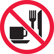 ISO Safety Sign- No Eating Or Drinking - Adhesive Vinyl - 6''